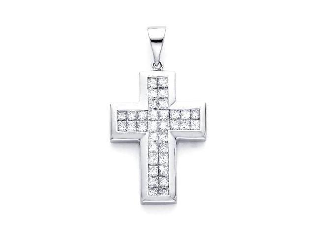 14k White Gold Channel Set Princess Cut Diamond Cross Pendant (G-H Color, SI1 Clarity)