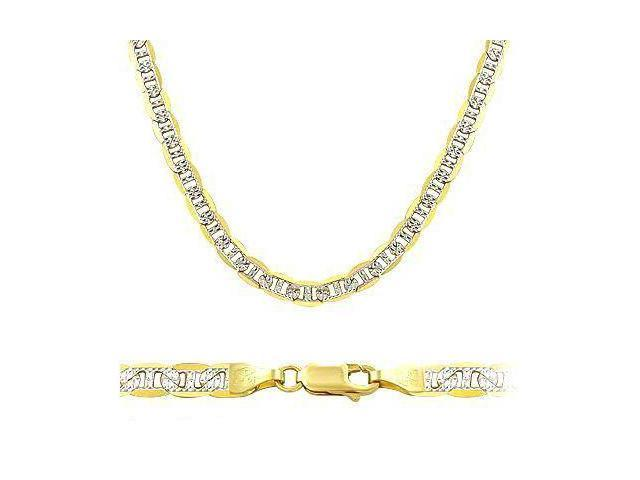 Solid 14k Yellow White Gold Mariner Chain Necklace 3.5mm 16