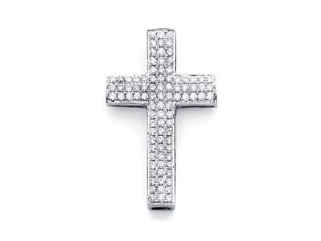 14k White Gold Large Pave Diamond Cross Pendant .84ct (G-H Color, SI2 Clarity)