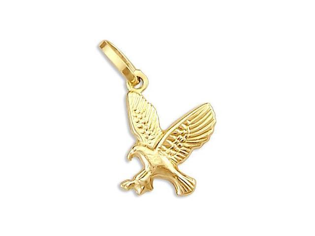14k Yellow Gold Eagle Bird Charm Pendant New Small (Height = 3/4