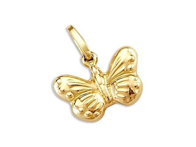 14k Yellow Gold Butterfly Charm Pendant New Elegant (Height = 3/4