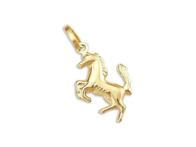 14k Yellow Gold Unicorn Horse Charm Pendant New (Height = 1