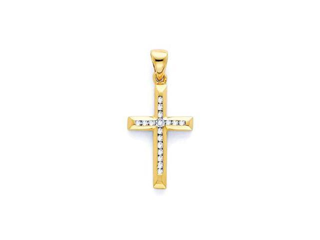 14k Yellow Gold Round Diamond Cross Pendant .10 ct (H-I Color, I Clarity)