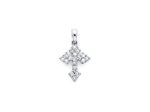 14k White Gold Small Round Diamond Cross Pendant .28 ct (G-H Color, SI2 Clarity)