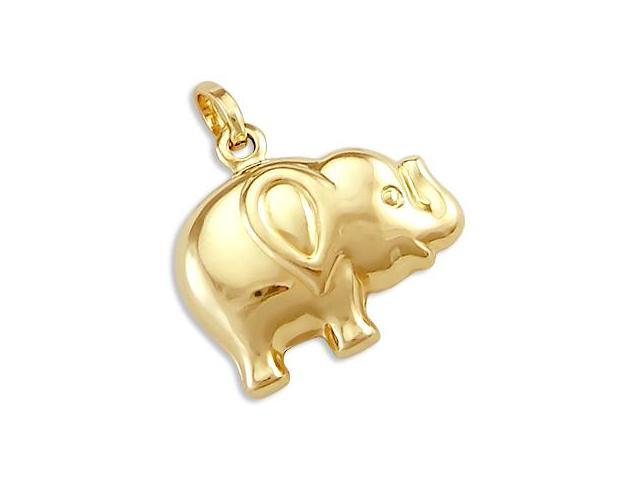 14k Yellow Gold Fat Elephant Animal Charm Pendant New (Height = 3/4