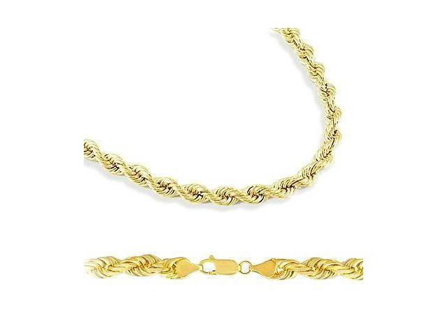 14k Yellow Gold Hollow Rope Chain Necklace 4mm 22