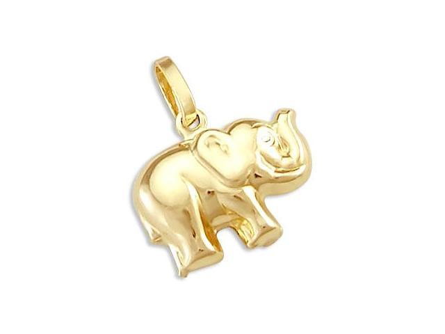 14k Small Yellow Gold Elephant Charm Pendant New Animal (Height = 3/4