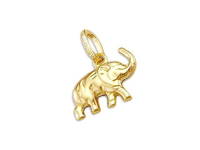 14k Small Yellow Gold Elephant Animal Charm Pendant (Height = 1/2
