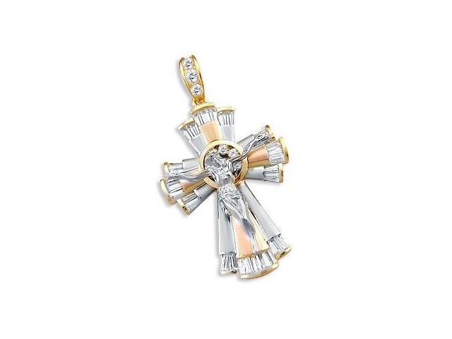 14k Yellow Tri-Color Gold Cross Crucifix Pendant HUGE (Height = 2.5