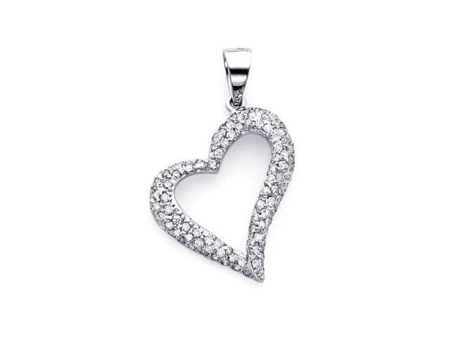 14k White Gold Large Heart Shape Diamond Pendant .55 ct (G-H Color, SI2 Clarity)