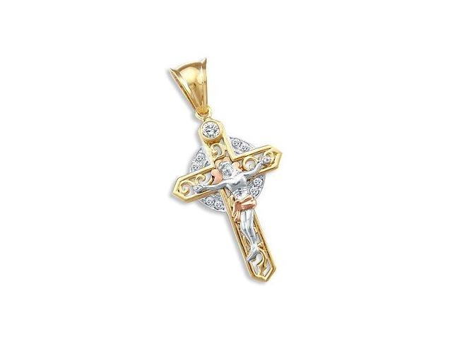 14k Yellow Tri-Color Gold Celtic CZ Crucifix Pendant (Height = 2.5