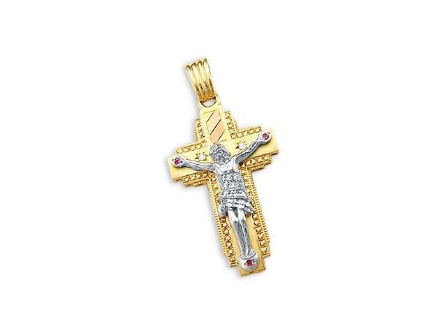 14k Yellow and White Gold Cross Crucifix Pendant Large (Height = 2