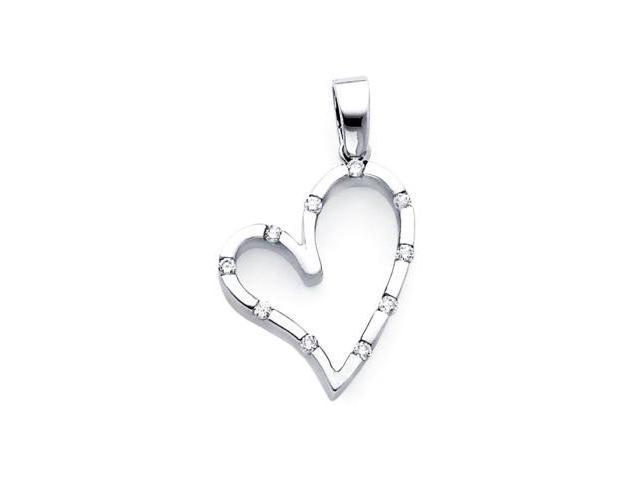 14k White Gold Round Diamond Heart Shape Pendant .13 ct (G-H Color, SI2 Clarity)