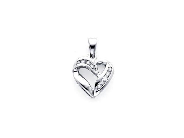 14k White Gold Channel Set Round Diamond Heart Pendant (H-I Color, I Clarity)