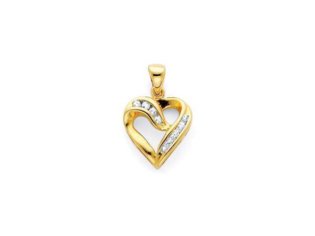 14k Yellow Gold Channel Set Round Diamond Heart Pendant (H-I Color, I Clarity)