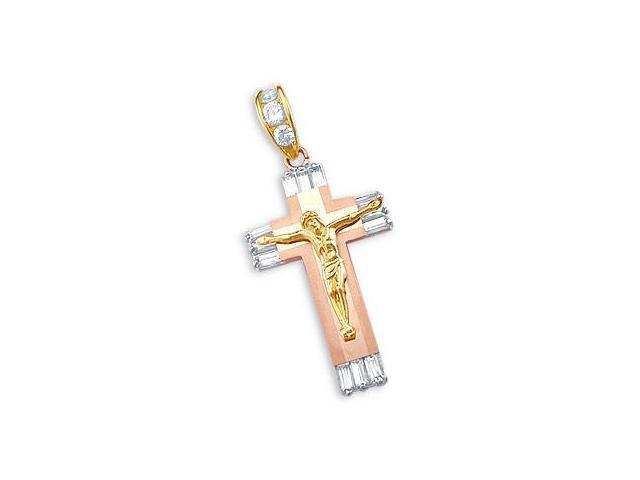 14k Yellow and Rose Gold Cross Crucifix Pendant Charm (Height = 2
