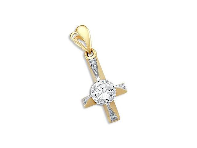 14k White Yellow Gold Cross Solitaire CZ Charm Pendant (Height = 1.25