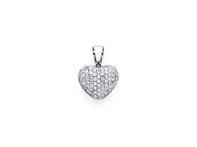 14k White Gold Micro Pave Diamond Heart Pendant .32 ct (G-H Color, SI2 Clarity)
