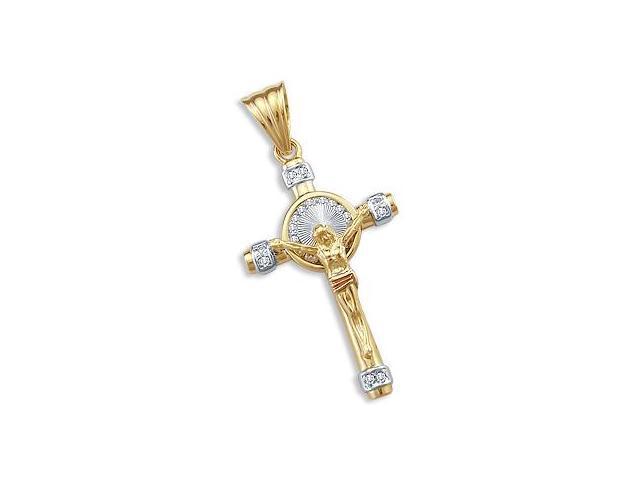 14k Yellow White n Rose Gold Cross Crucifix Pendant New (Height = 2