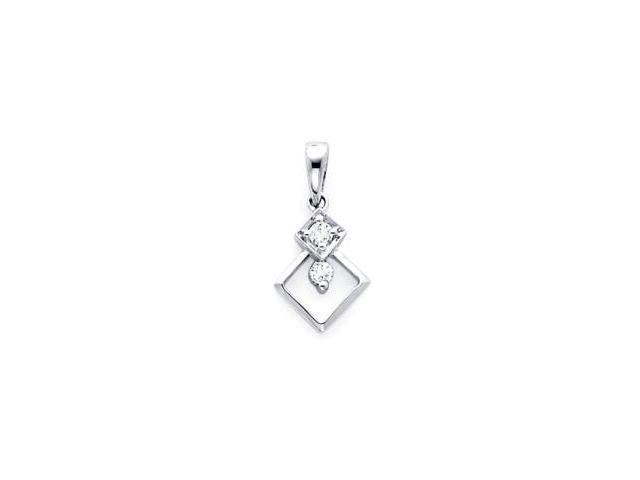 18k White Gold Small Round Two Diamond Dangle Pendant (G Color, SI1 Clarity)