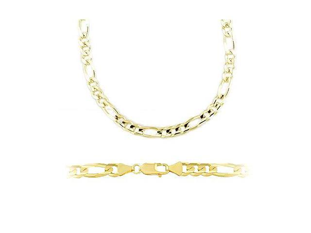 14k Solid Yellow Gold Figaro Chain Necklace 3.2mm 24