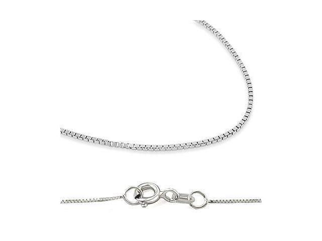 14k New Solid White Gold Box Chain Necklace .6mm 22