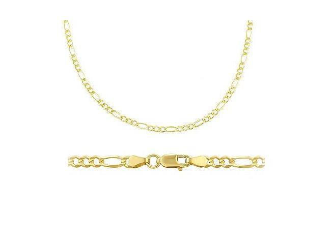 14k Solid Yellow Gold Figaro Chain Necklace 2.5mm 16