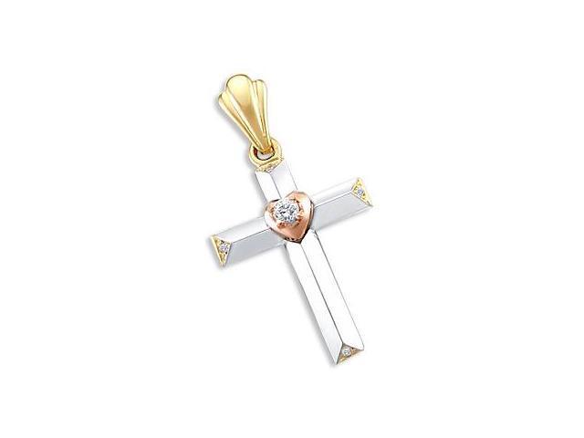 14k White Yellow N Rose Gold Cross Heart Charm Pendant (Height = 1.5