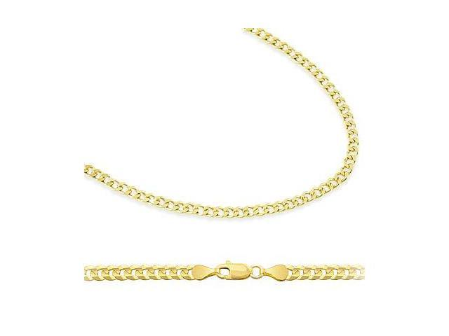 Solid 14k Yellow Gold Cuban Curb Chain Necklace 2.4mm 24