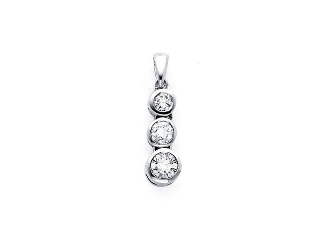 14k White Gold Past Present Future Diamond Pendant (G-H Color, SI2 Clarity)