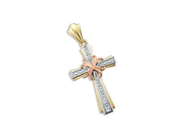 14k Yellow White Rose Gold Cross Crucifix Large Pendant (Height = 1.75