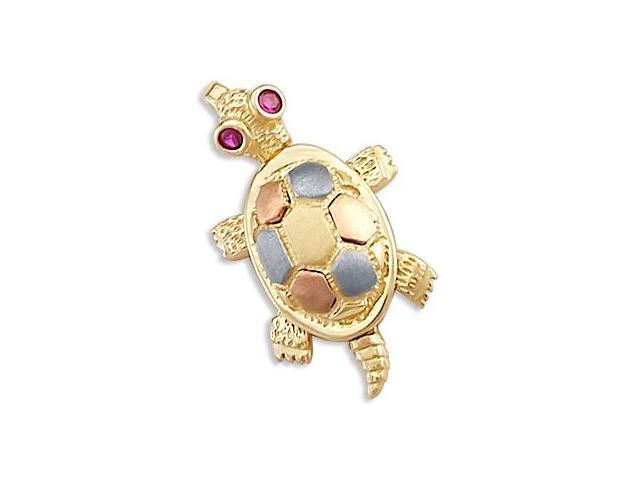 14k Yellow White n Rose Gold Turtle Shell Charm Pendant (Height = 3/4
