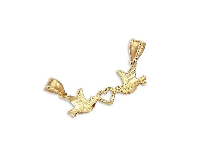 14k Yellow Gold Love Birds Kissing Heart Charm Pendant (Height = 1/2
