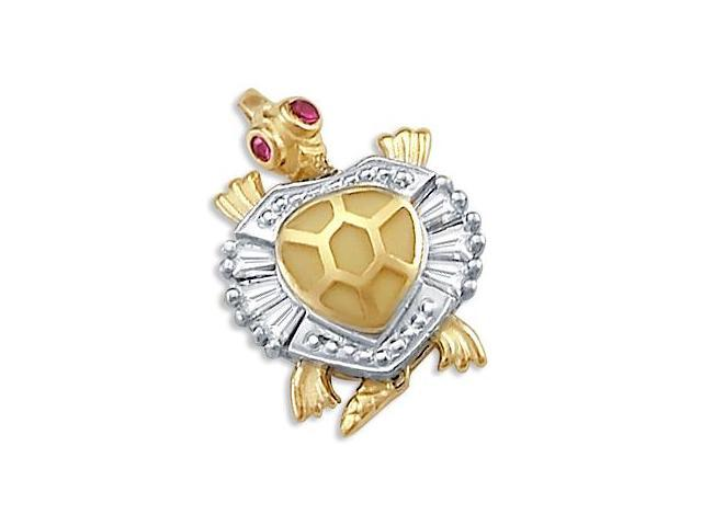 14k Yellow and White Gold Turtle Charm Pendant New (Height = 3/4