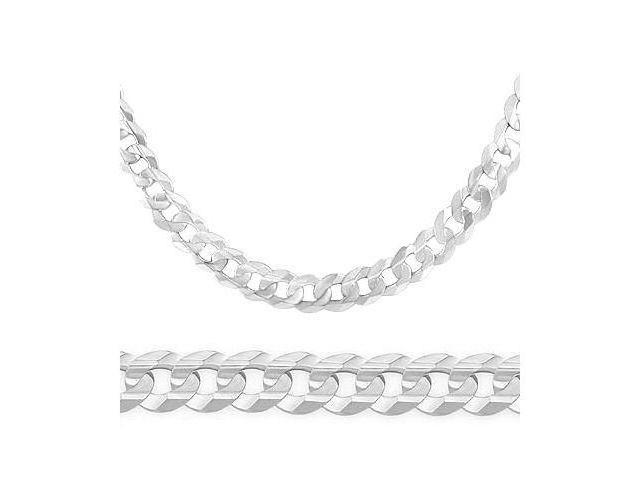14K Solid White Gold Cuban Curb Chain Necklace 6mm 22