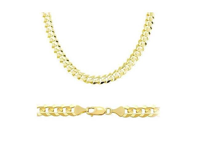 Solid 14k Yellow Gold Cuban Curb Chain Necklace 7.1mm 20