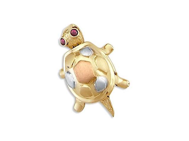 14k Yellow White n Rose Gold Turtle Charm Pendant New (Height = 3/4