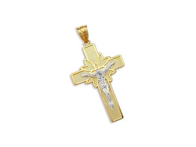 Solid 14k 2 Two Tone Gold Cross Crucifix Charm Pendant (Height = 1.75