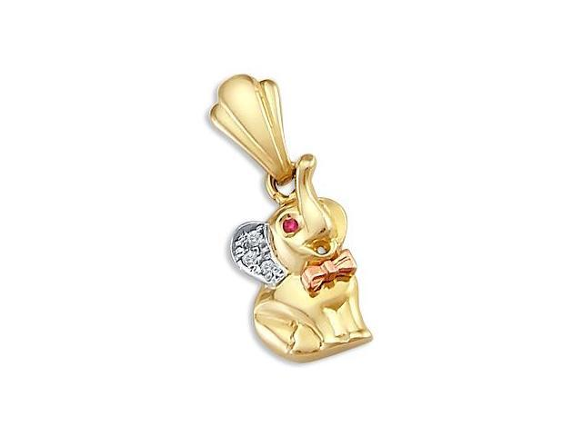 14k Yellow White n Rose Gold Elephant Charm Pendant New (Height = 1