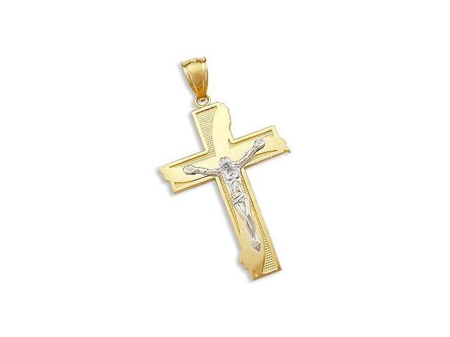 Solid 14k 2 Two Tone Gold Cross Crucifix Charm Pendant (Height = 1.5