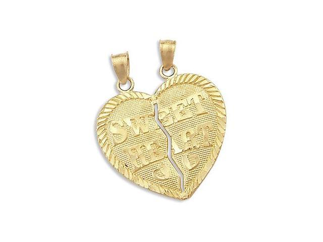 14k Yellow Gold Breakable Sweet Heart Charm Pendant New (Height = 1
