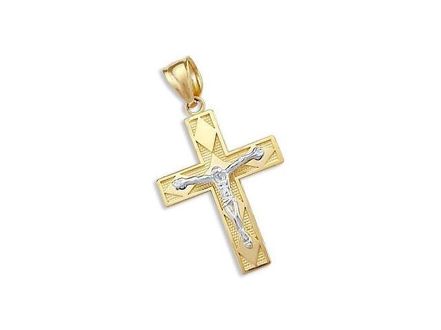 14k Yellow and White Gold Crucifix Cross Charm Pendant (Height = 1.25