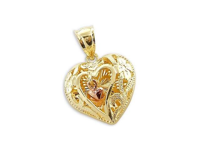 14k Yellow n Rose Gold 3D Love Heart Charm Pendant New (Height = 3/4