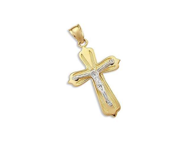 14k Yellow and White Gold Crucifix Cross Pendant Charm (Height = 1.25