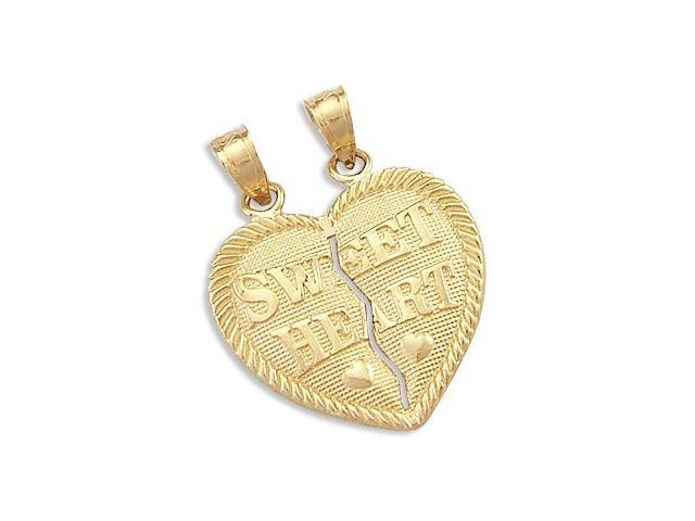 14k Yellow Gold Breakable Sweet Heart Pendant Charm New (Height = 1