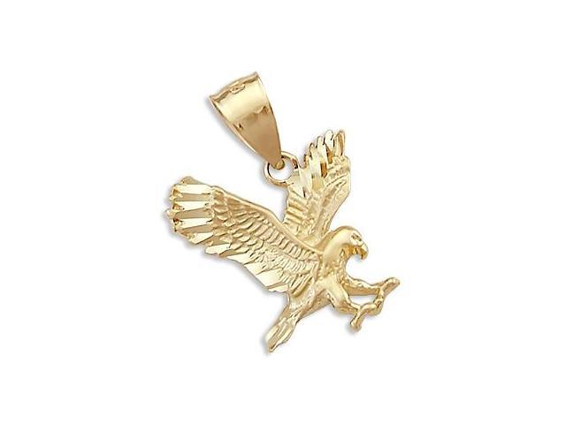 Solid 14k Yellow Gold Bird Eagle Charm Pendant New (Height = 3/4