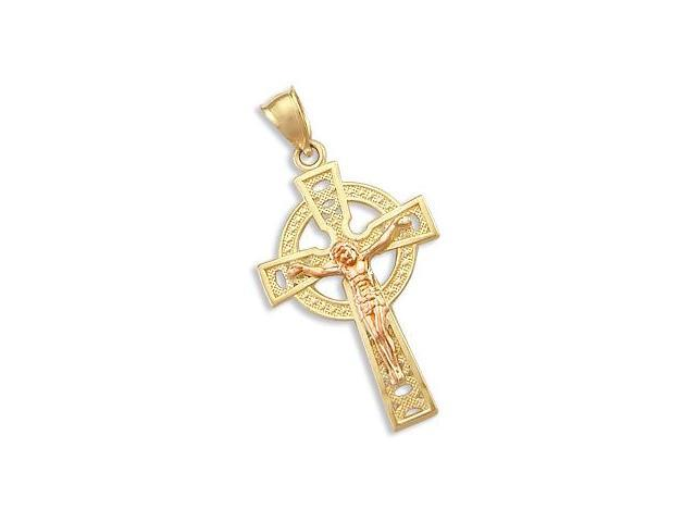 14k Yellow and Rose Gold Celtic Cross Crucifix Pendant (Height = 1.25