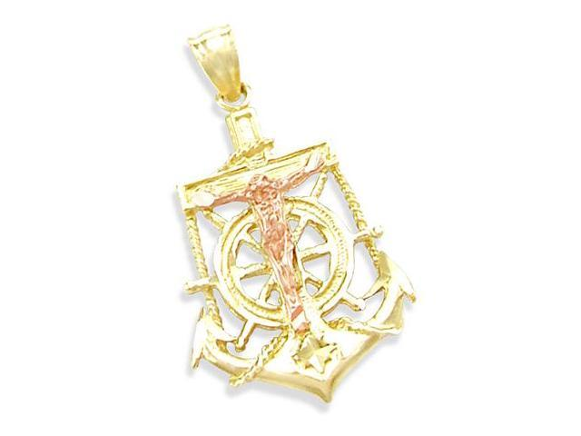 14K YELLOW and ROSE GOLD JESUS CRUCIFIX ANCHOR PENDANT (Height = 1.25