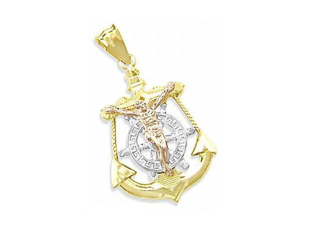 14K TRI-COLOR GOLD ANCHOR JESUS CRUCIFIX CHARM PENDANT (Height = 1.5