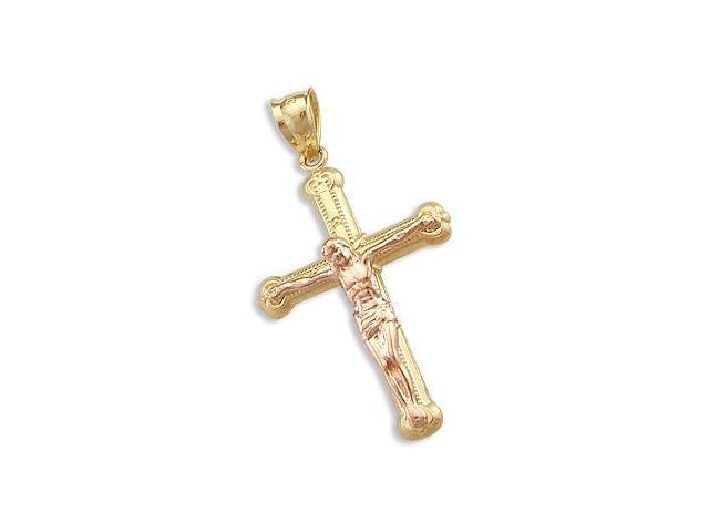 14k Yellow and Rose Gold Cross Crucifix Charm Pendant g (Height = 1.25